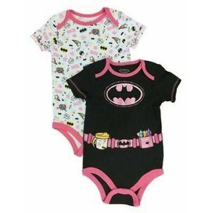 DC 2 Pk Girls Bodysuit, Batgirl / Batman, 3-6M